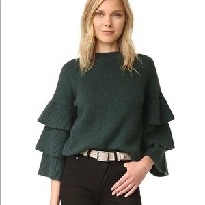 Endless Rose bell sleeve sweater in olive green